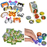 Animal Party Toy and Favor Kit, Features 24 Foam Animal Masks, 24 Animal Stampers, 100 Animal Stickers, and 12 notebooks. Great for Animal, Zoo, and Safari Themed Parties!