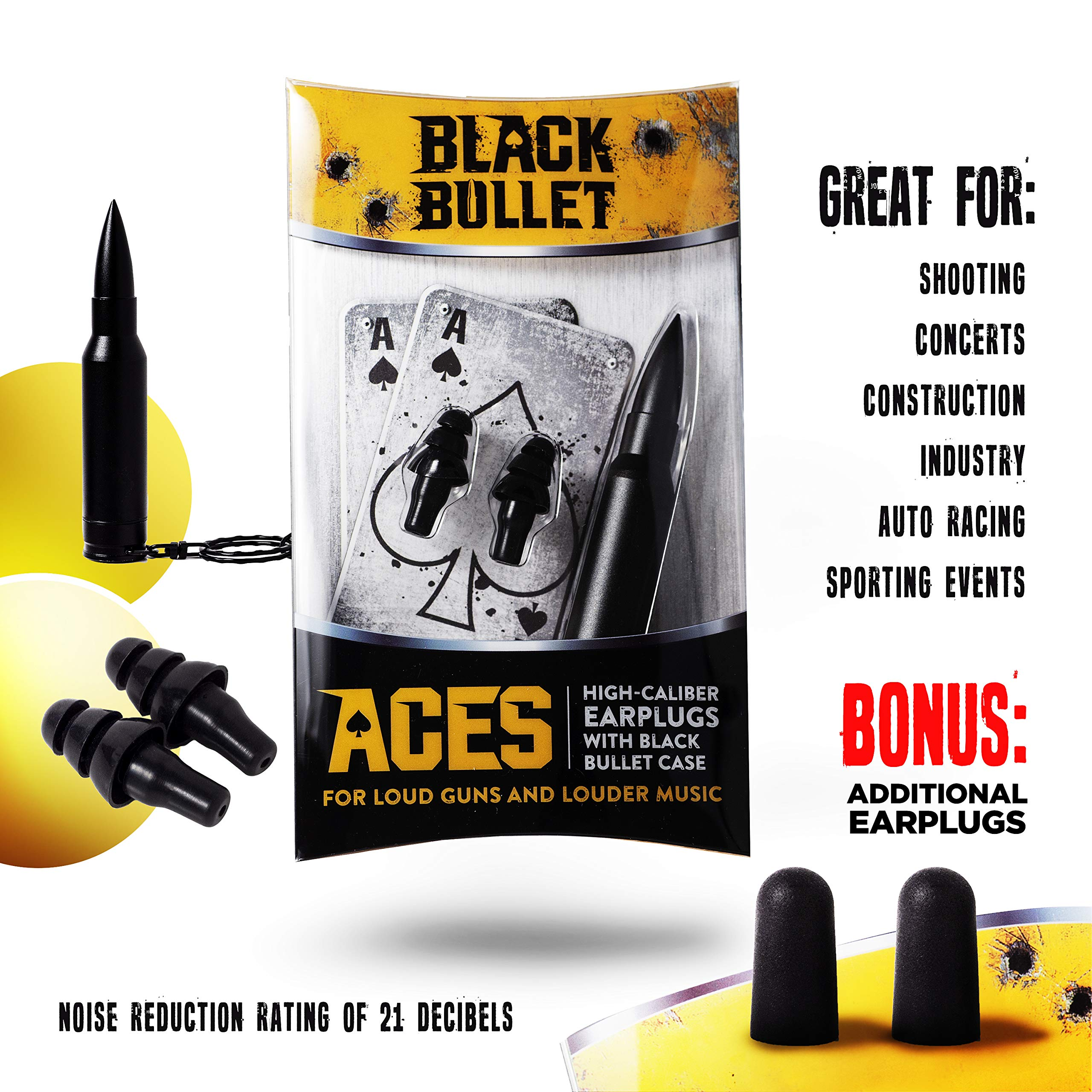 Black Bullet Noise Cancelling High-Fidelity Ear Plugs | Earplugs for Concerts and Musicians | Ear Protection for Shooters and Shooting Guns | Discrete, Low Profile | ACES by Black Bullet