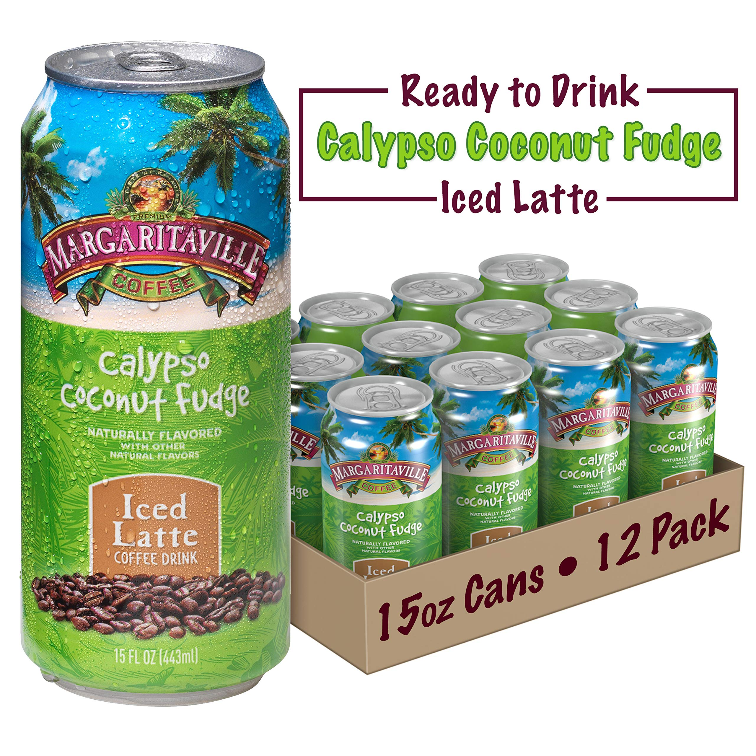 Margaritaville Coffee Pre-Made Calypso Coconut Fudge Latte, Ready to Drink, 15 Fl Oz (Pack of 12) by Margaritaville