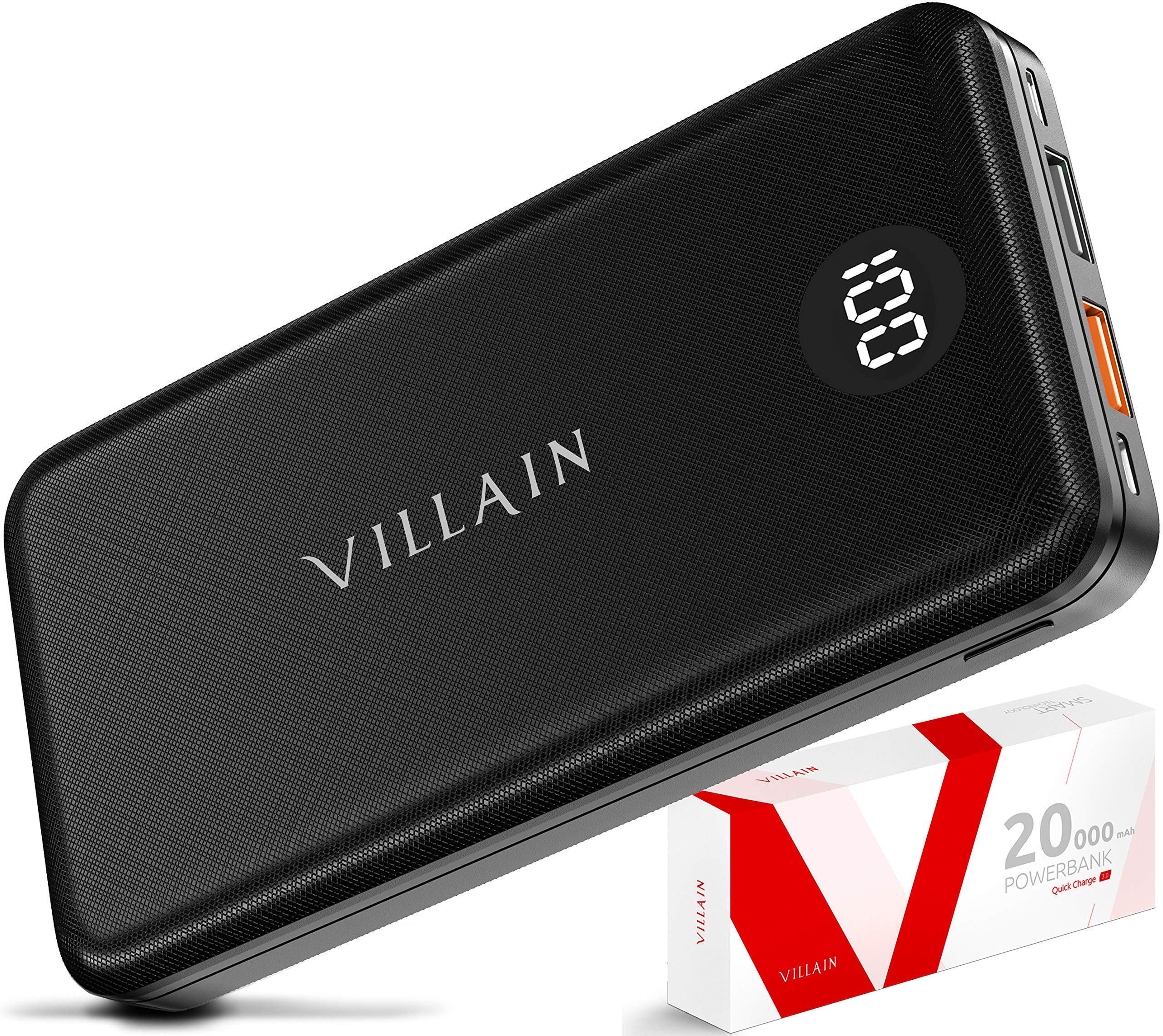 VILLAIN Portable Charger Power Bank Fast Charging Battery Pack 20000mAh Cell Phone External Battery Charger, 20W USB PD 3.0 Type C Output, Qualcomm Quick Charge for Android, iPhone, iPad, Tablet