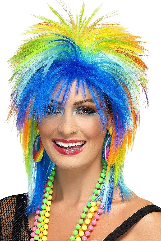 Women/'s 1980/'s  Multicoloured Punk Fancy Dress Wig Rockstar Wild Child Hen Theme