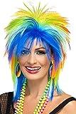 Smiffys 41406 Déguisement Femme Perruque Punk ArcEnCiel des Années 80, Multicolore, Taille Unique