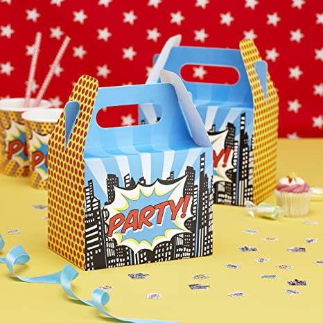 Superhero Colouring In Boxes Superheroes Childrens Fun Party Food Snack Meal Box