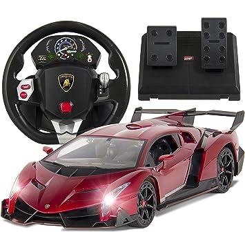 Best Choice Products 1/14 Scale RC Lamborghini Veneno Realistic Driving Gravity Sensor Remote Control Car Red Cars & Trucks at amazon