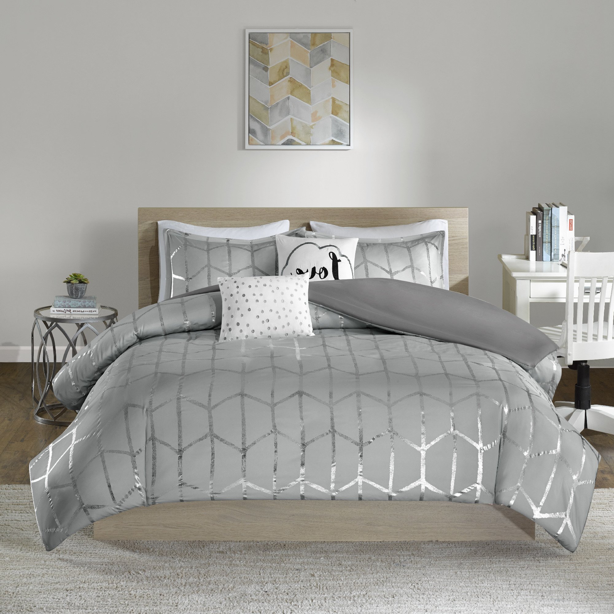 N2 5 Piece Light Grey Silver Geometric King/Cal King Duvet Cover Set, Soft Gray Metallic Themed Bedding Hexagon Chic Stylish Glam Trendy Casual Modern Love Polka Dot, Microfiber, Polyester