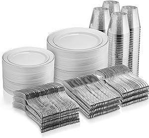 600 Piece Silver Dinnerware Set -100 Silver Rim 10 inch Plastic Plates 100 Silver Rim 7 Inch Plates -300 Silver Plastic Silverware -100 Silver Plastic Cups -100 Guest Disposable Silver Dinnerware Set