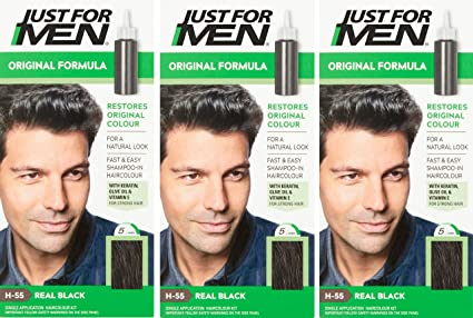 3 x Just For Men Hair Colour Original Formula - Real Black (H55)