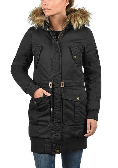 DESIRES Alma Damen Parka Winterjacke lang Mantel mit Teddy-Futter und  Fellkragen aus hochwertiger Materialqualität: Amazon.de: Bekleidung