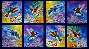 Robert Kaufman Kaufman Nature Studies Digital Sand Dots Bright Hummingbirds Panel Fabric