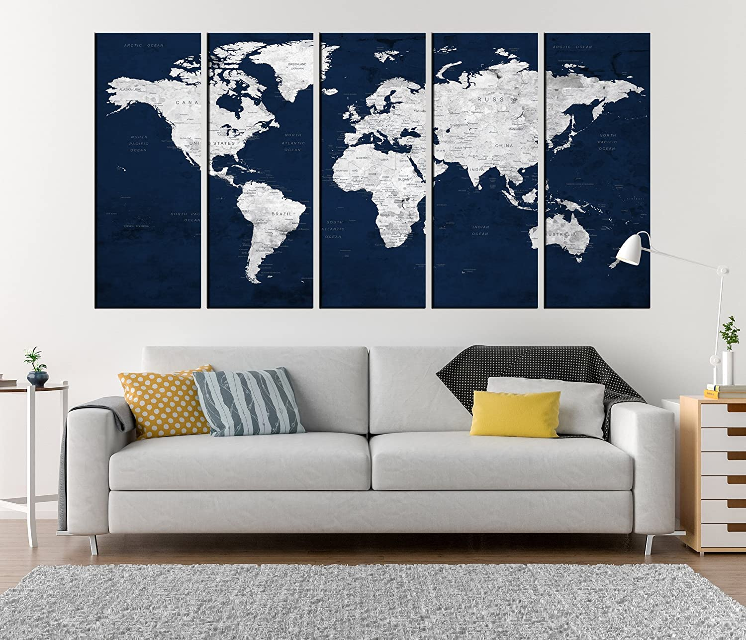 Amazon com navy blue push pin world map canvas print extra large