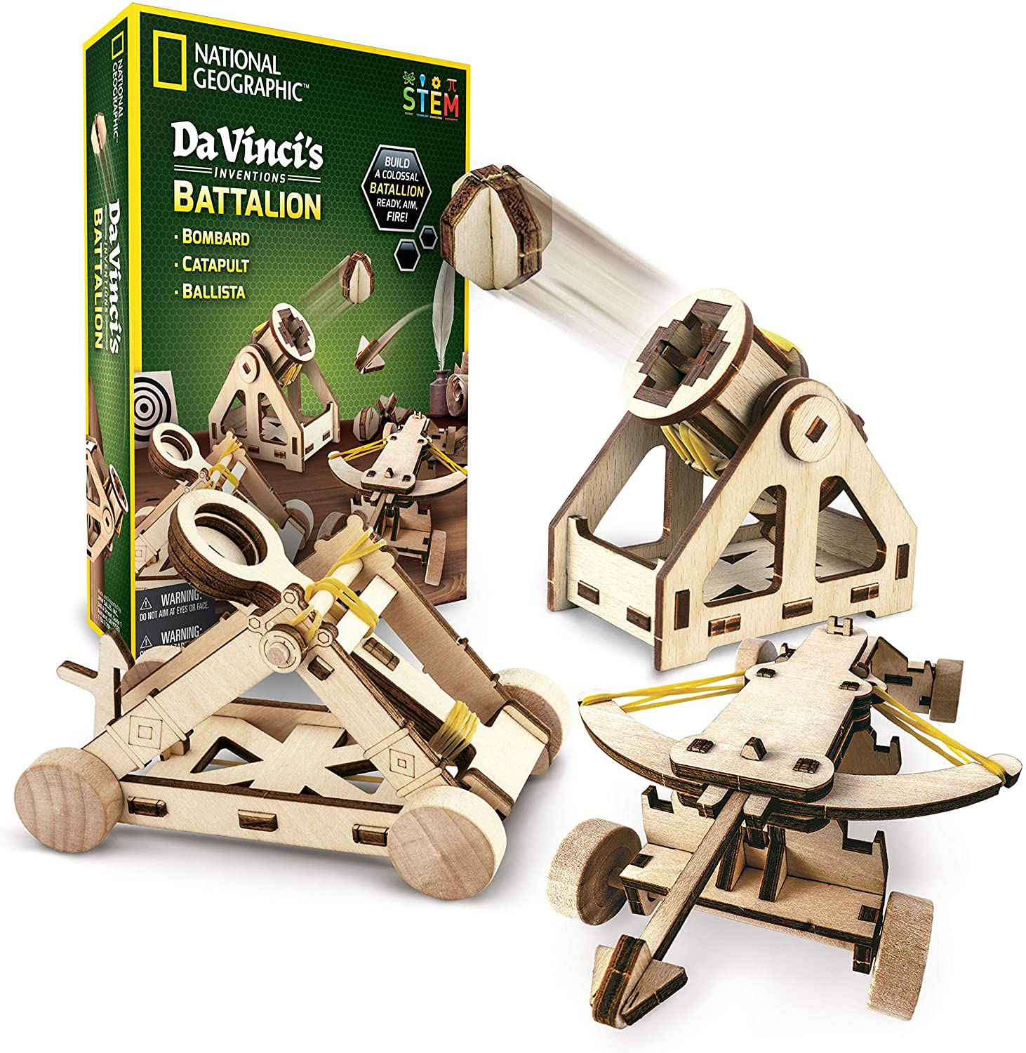 Amazon Com National Geographic Construction Model Kit Build 3 Wooden 3d Puzzle Models Learn About Da Vinci S Improved Designs Toys Games