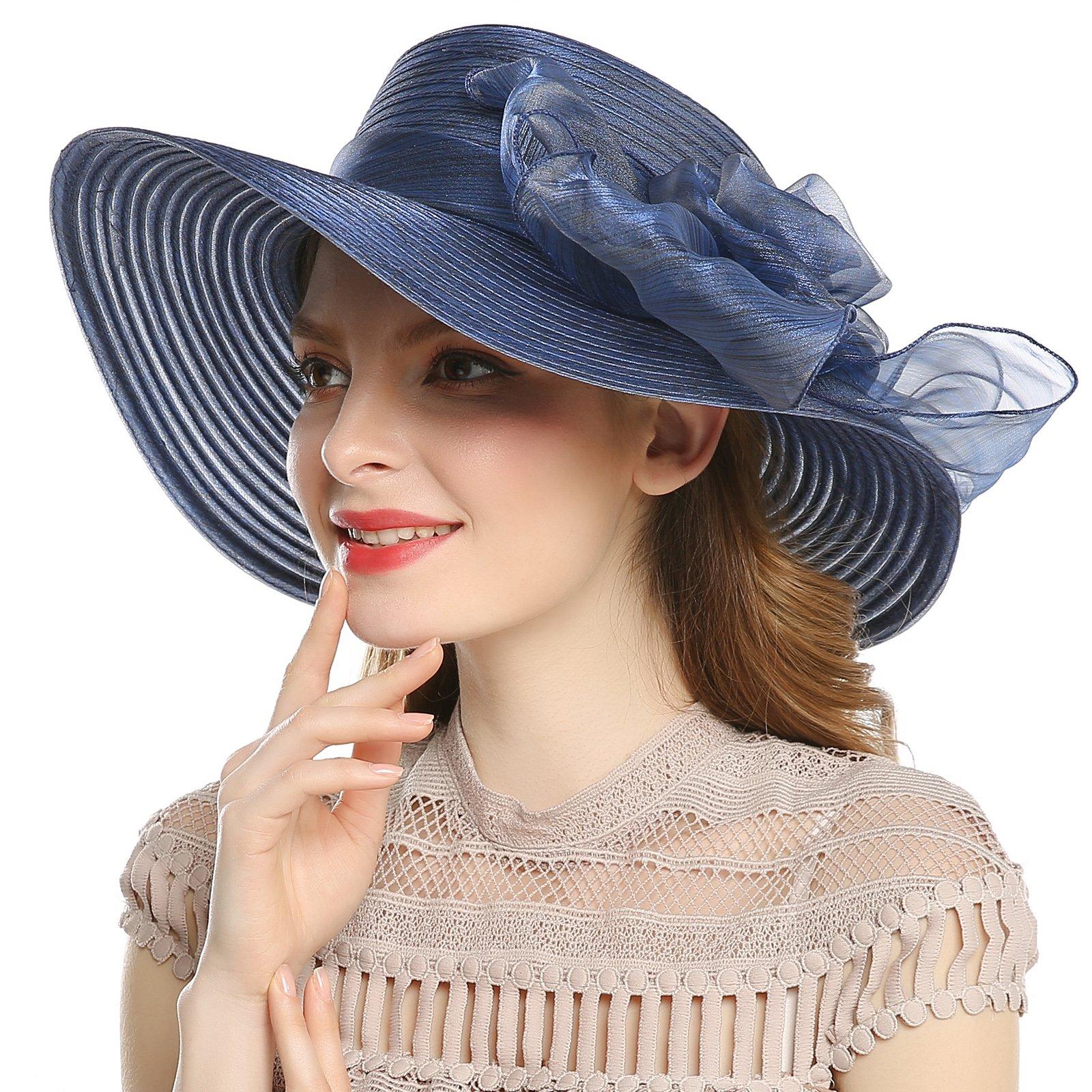 WELROG Women's Derby Church Dress Hat - Wide Brim Floppy Floral Ribbon UPF Protection Wedding Sun Hats(Navy Blue)