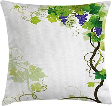 Ambesonne Vineyard Throw Pillow Cushion Cover Vineyard Frame With Swirled Curled Fresh Cluster Gardening Plants Design Decorative Square Accent Pillow Case 18 X 18 Purple Green Home Kitchen