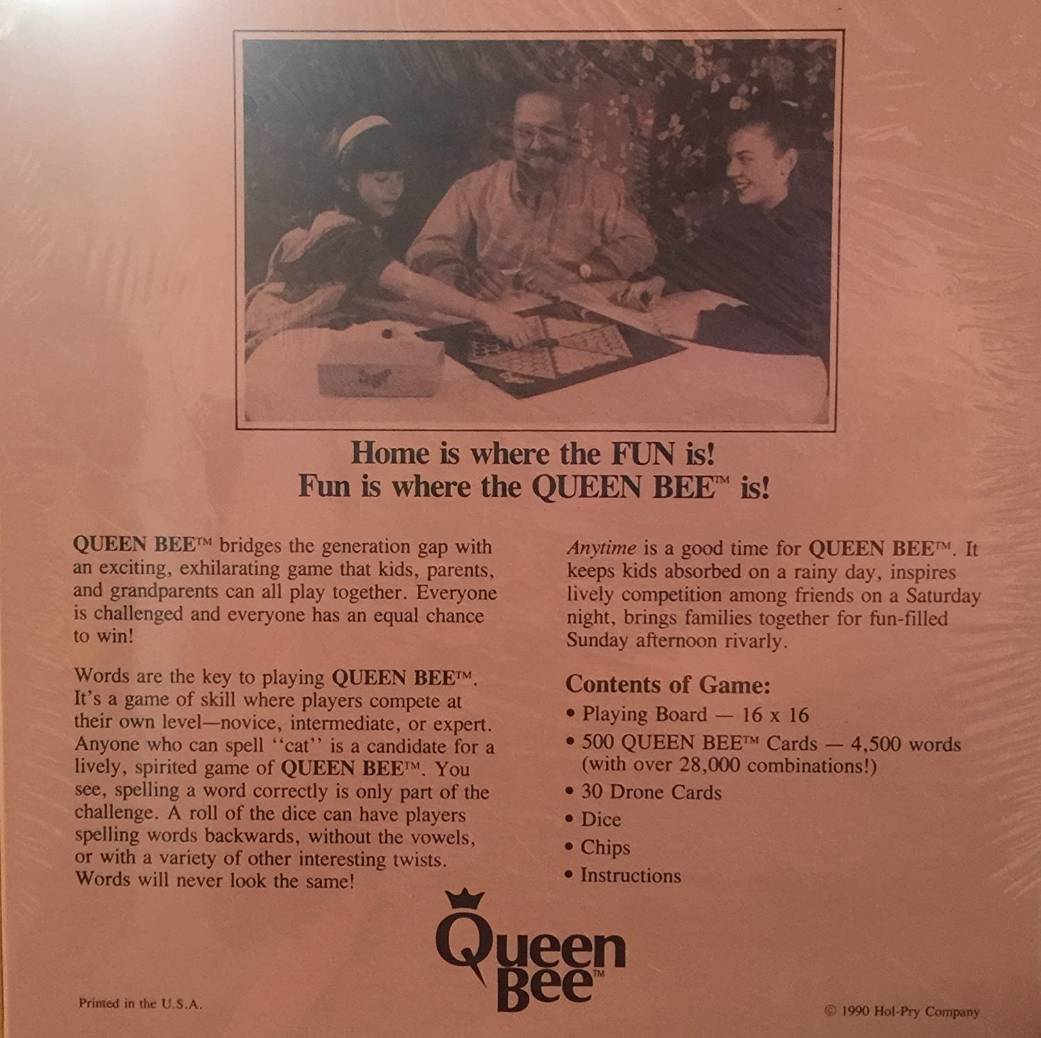 Queen Bee Board /& Word Game 6 To Adults 2 To 24 Players 1990 Hol-Pry Co RARE