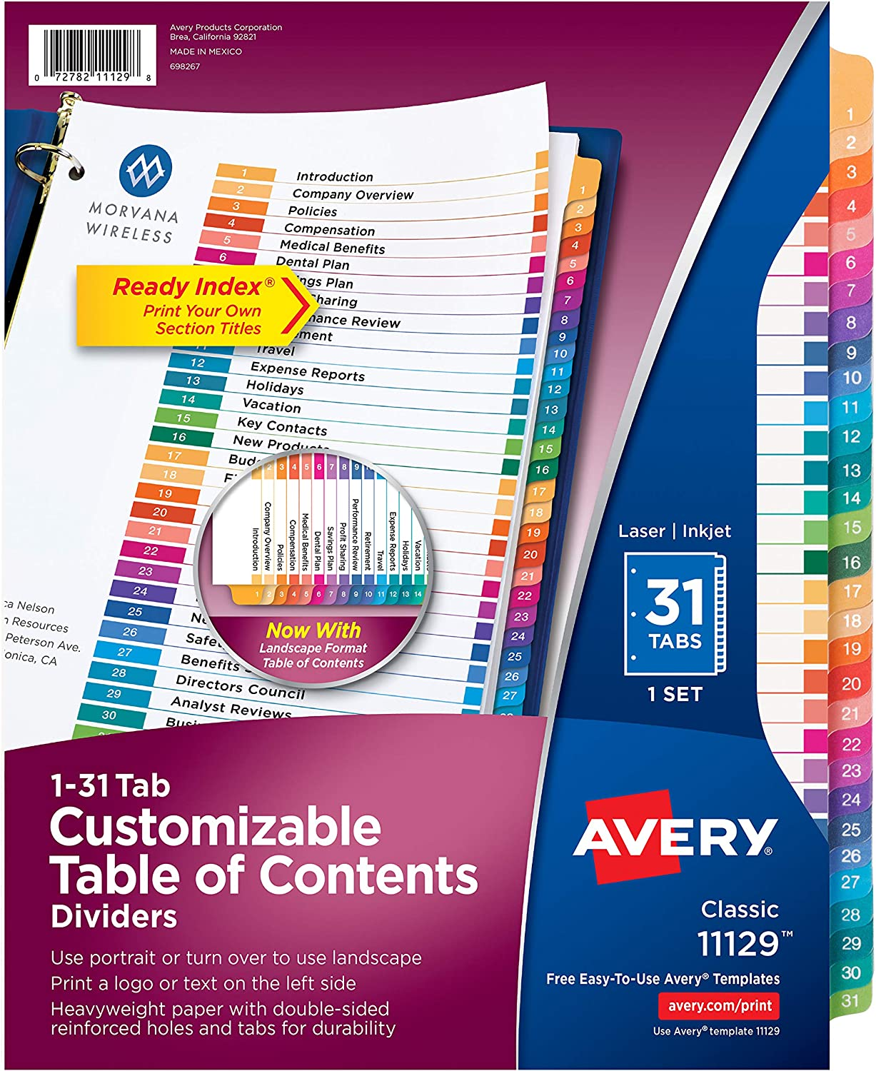 Avery 31-Tab Dividers for 3 Ring Binders, Customizable Table of Contents, Multicolor Tabs, 12 Sets (11129)