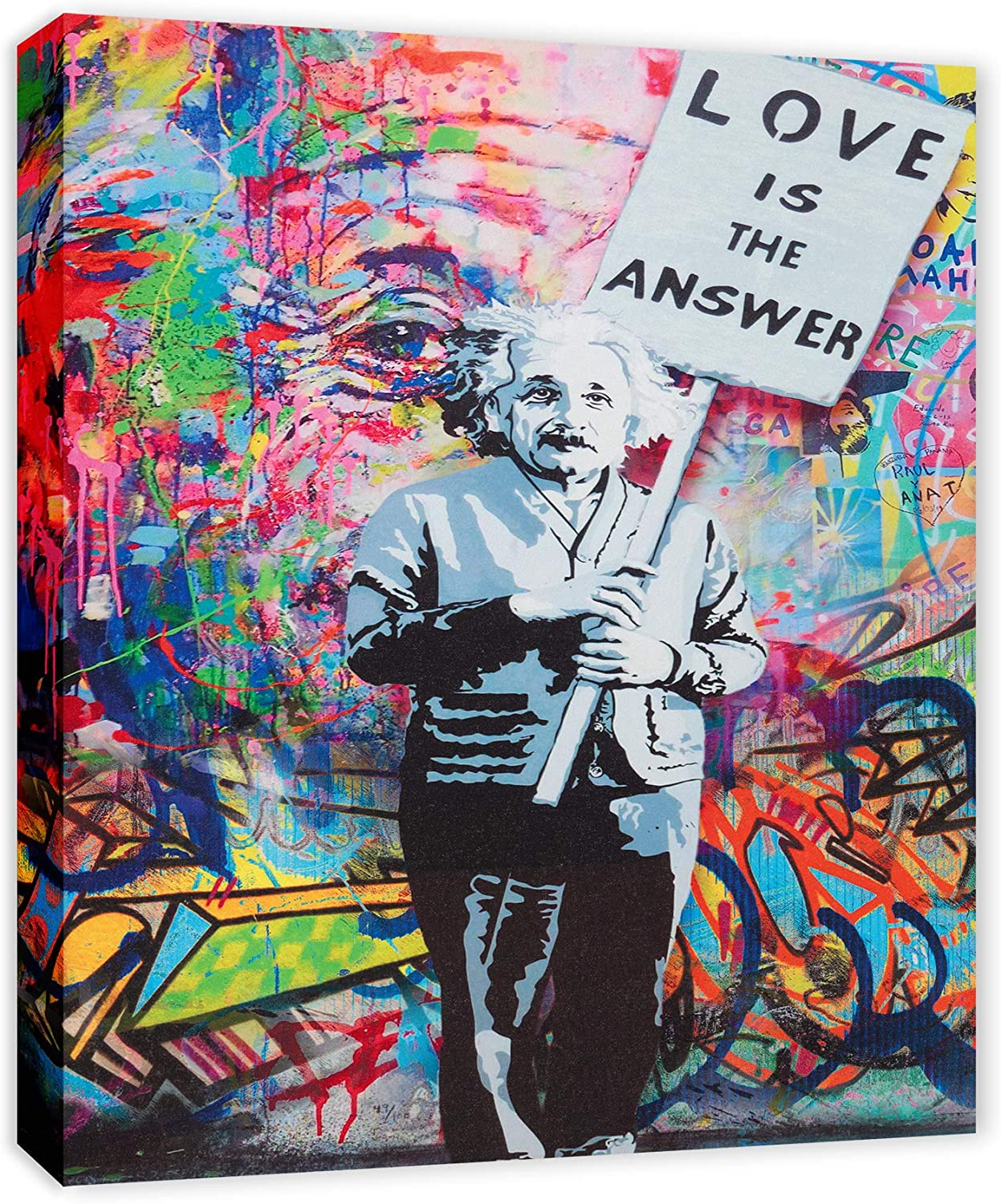 """Einstein """"Love is the Answer"""" Colorful Figure Street Graffiti - FRAMED - Canvas Print Home Decor Wall Art, Gallery Wrap Inner Frame, 7x9"""