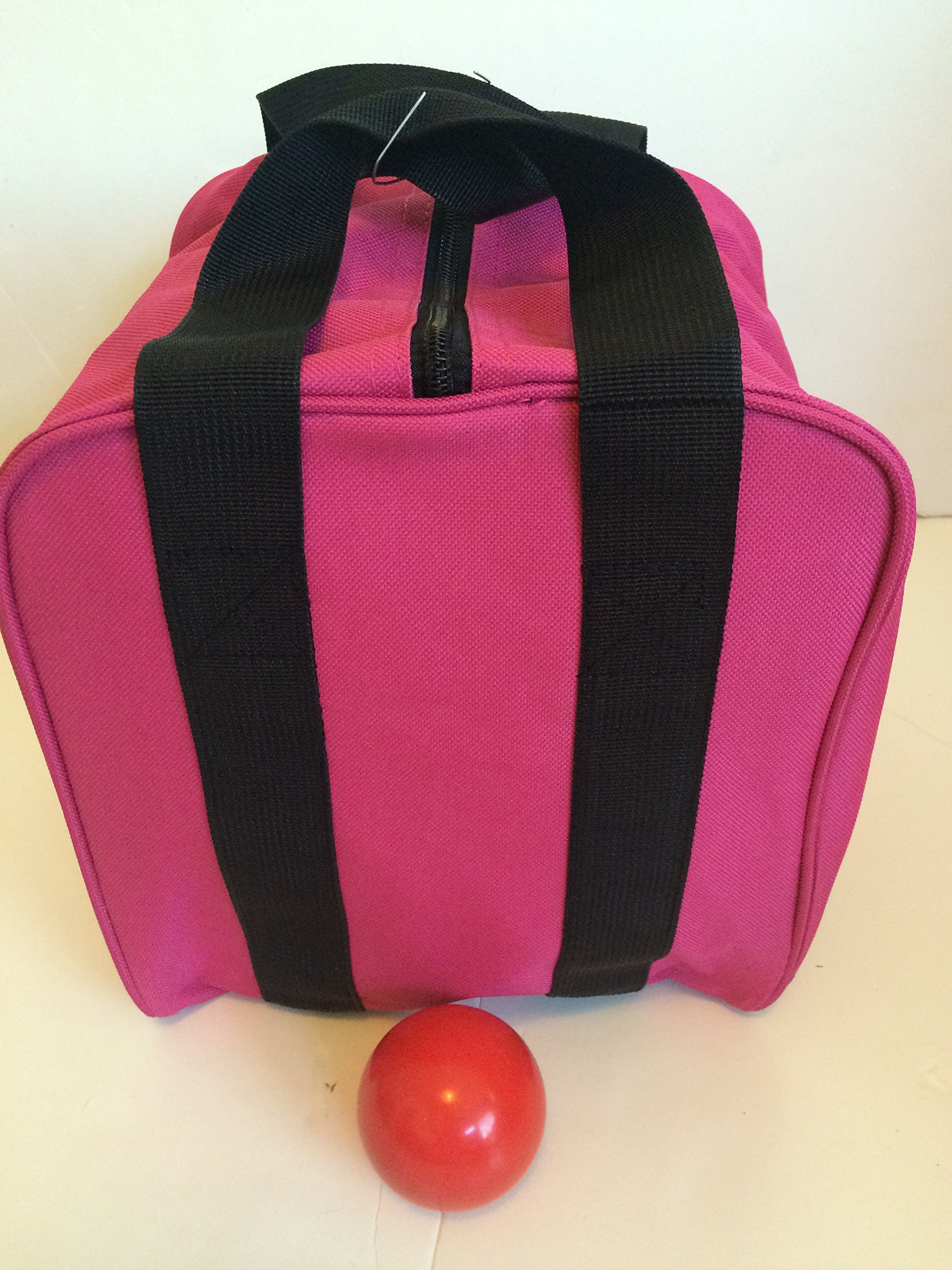 Unique Bocce Accessories Package - Extra Heavy Duty Nylon Bocce Bag (Pink with Black Handles) and Red pallina by BuyBocceBalls