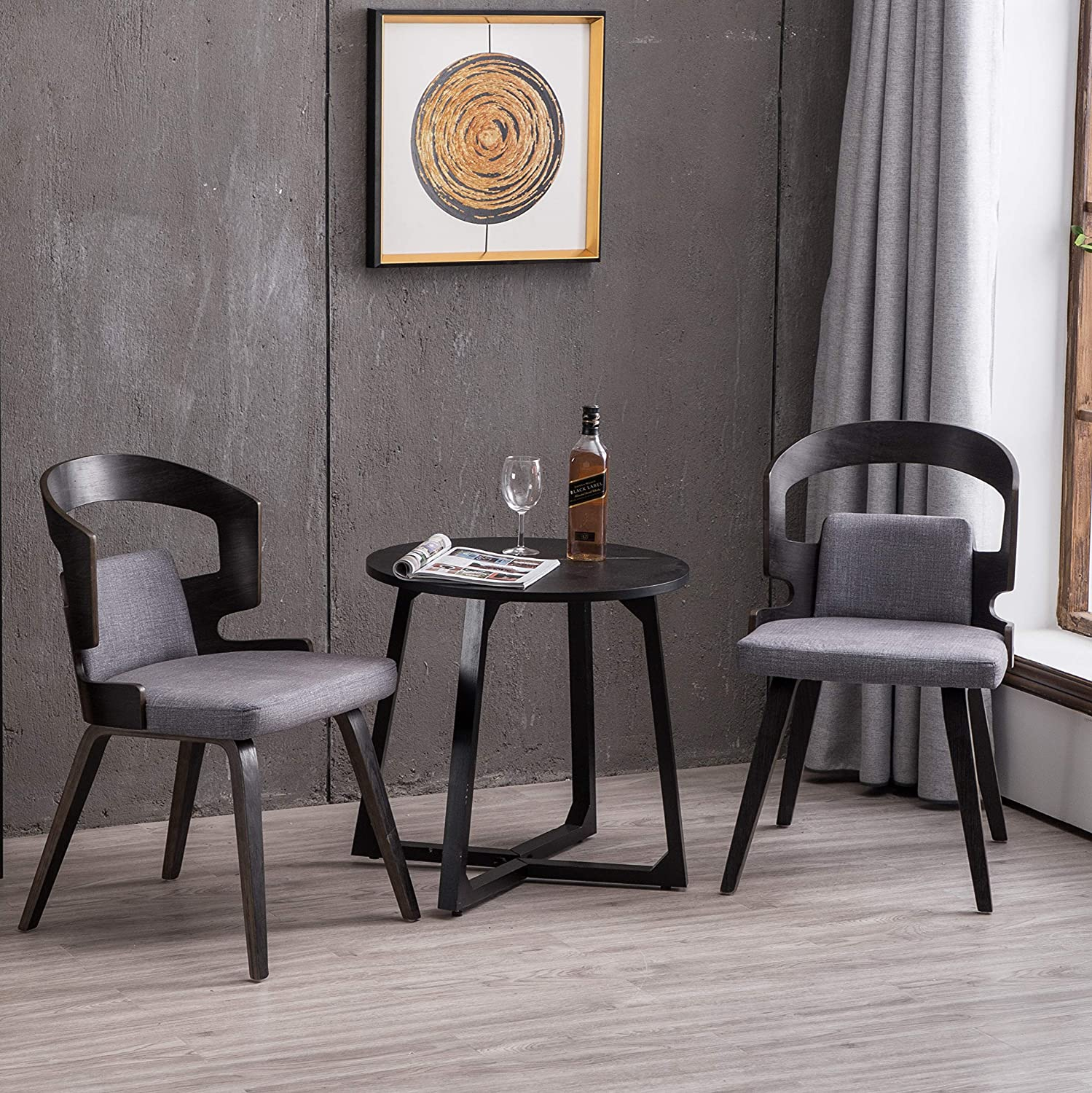 YEEFY Living Room Chairs Fabric Dining Chair Gray Dining Room Chairs, Set  of 2(Gray