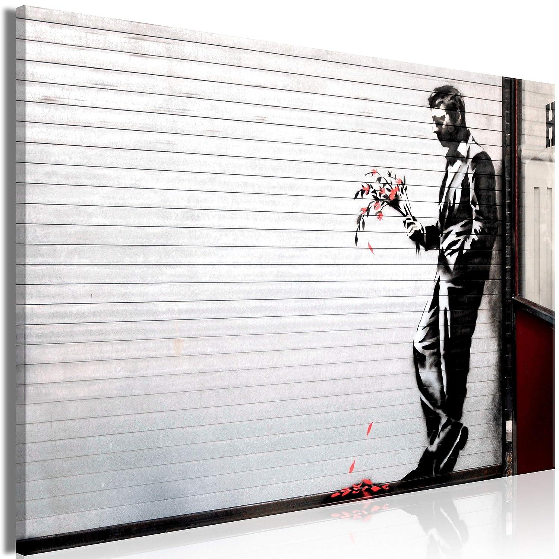 decomonkey Akustikbild Banksy 120x80 cm 1 Teilig Bilder Leinwandbilder Wandbilder XXL Schallschlucker Schallschutz Akustikdämmung Wandbild Deko leise Mann mit Blumen