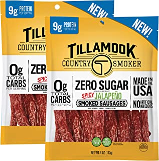 product image for Tillamook Country Smoker Zero Sugar Spicy Jalapeno Smoked Sausages, 8 Ounces