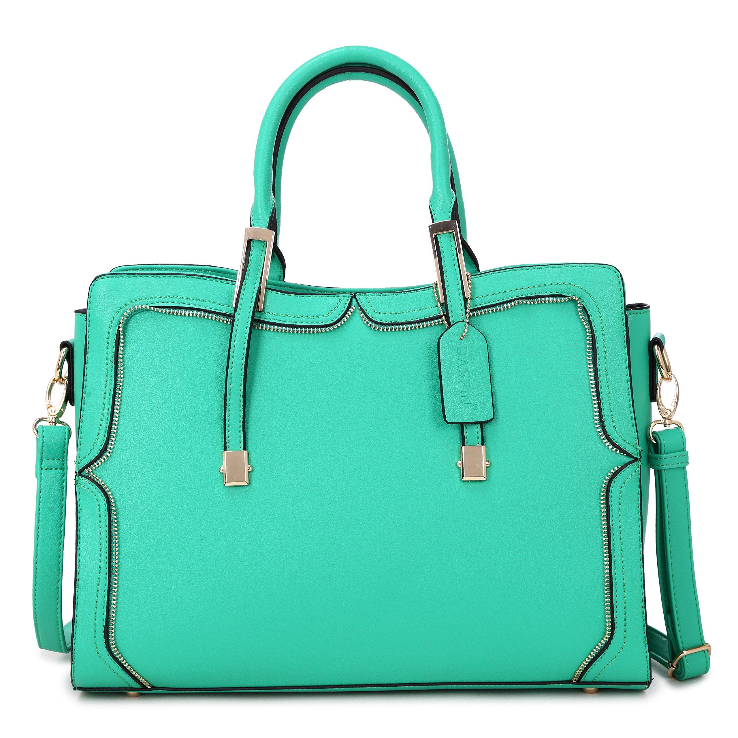 Top Handle Handbag Zip Purse Fashion Shoulder Bag Structured Crossbody Satchel Vegan Leather (8172-green)