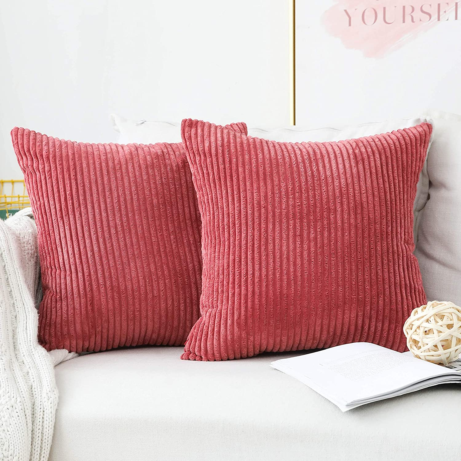 Home Brilliant 24x24 Pillow Covers Summer Decorations Striped Velvet Corduroy Euro Sham Large Square Pillow Case for Sofa, 60cm, Set of 2, Dry Rose Pink