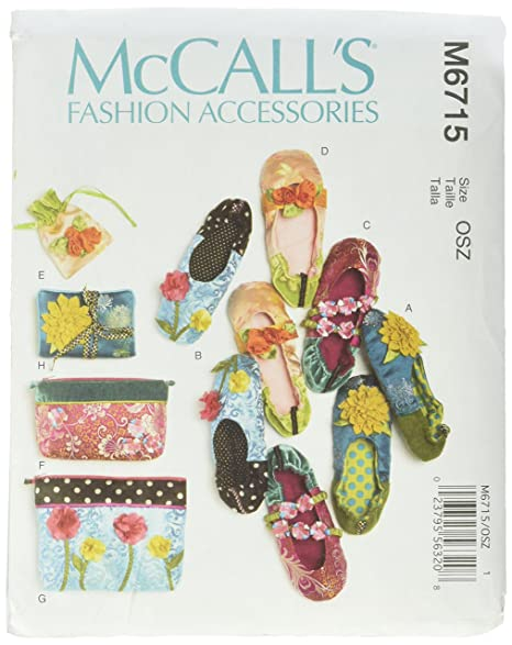 Amazon.com: McCall Patterns M6715 Zapatillas, bolsa de ...