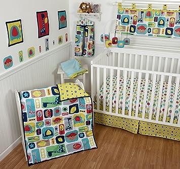 Amazon Com Sumersault 10 Piece Crib Bedding Set Zoo Squares