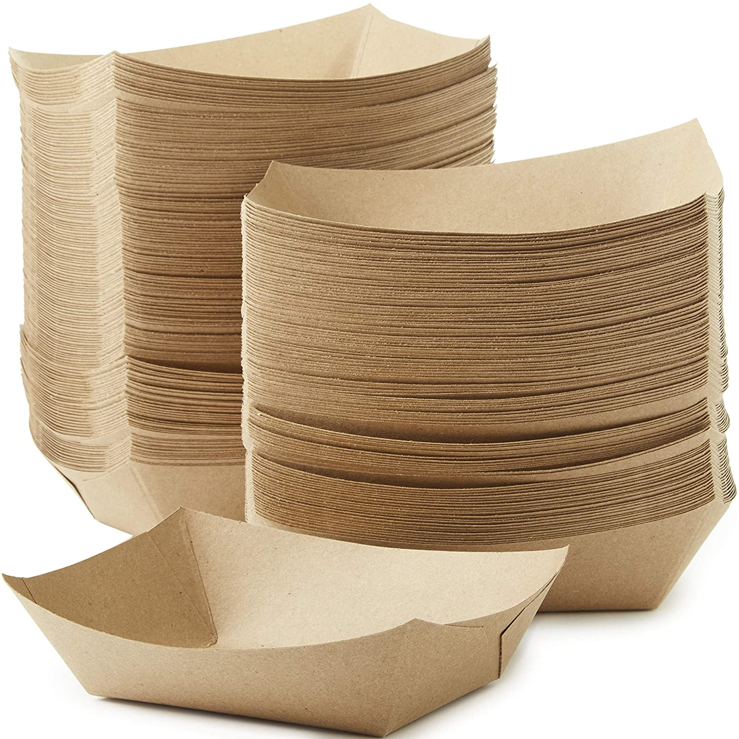 Eco Friendly, USA-Made 3lb Food Holder Trays 500 Pack. Compostable Kraft Paper Container for Diners, Concession Stands or Camping. Best Sturdy 3 Lb Disposable Party Snack Boat for Nachos, Tacos or BBQ