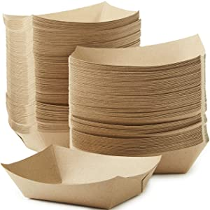 Eco Friendly, USA-Made 3lb Food Holder Trays 150 Pack. Compostable Kraft Paper Container for Diners, Concession Stands or Camping. Best Sturdy 3 Lb Disposable Party Snack Boat for Nachos, Tacos or BBQ