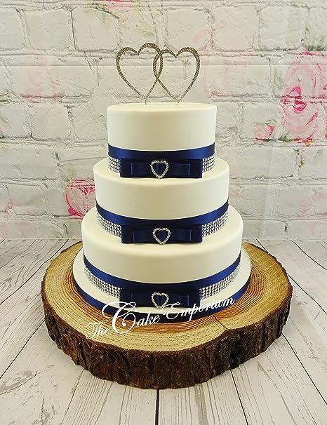 Wedding Cake Love Heart Cake Topper 3 Rhinestone Buckles