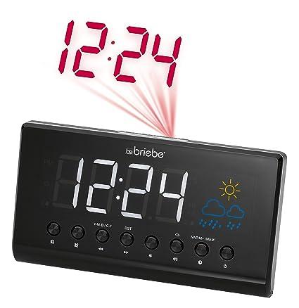 Briebe Meteo - Radio reloj despertador digital con proyector, estación meteorológica, temperatura, pantalla
