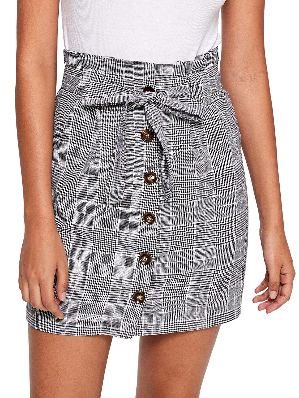 Grey WDIRARA Women's Casual Plaid High Waist Button Closure Aline Mini Short Skirt