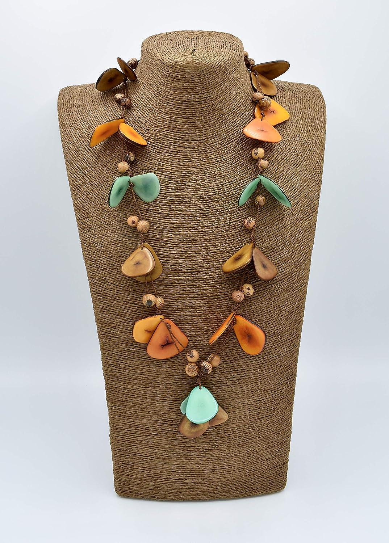 Aqua and Brown Tagua Nut Necklace in Orange