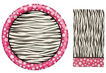Amazon.com | Zebra Animal Print Paper Party Plates and Napkins ...