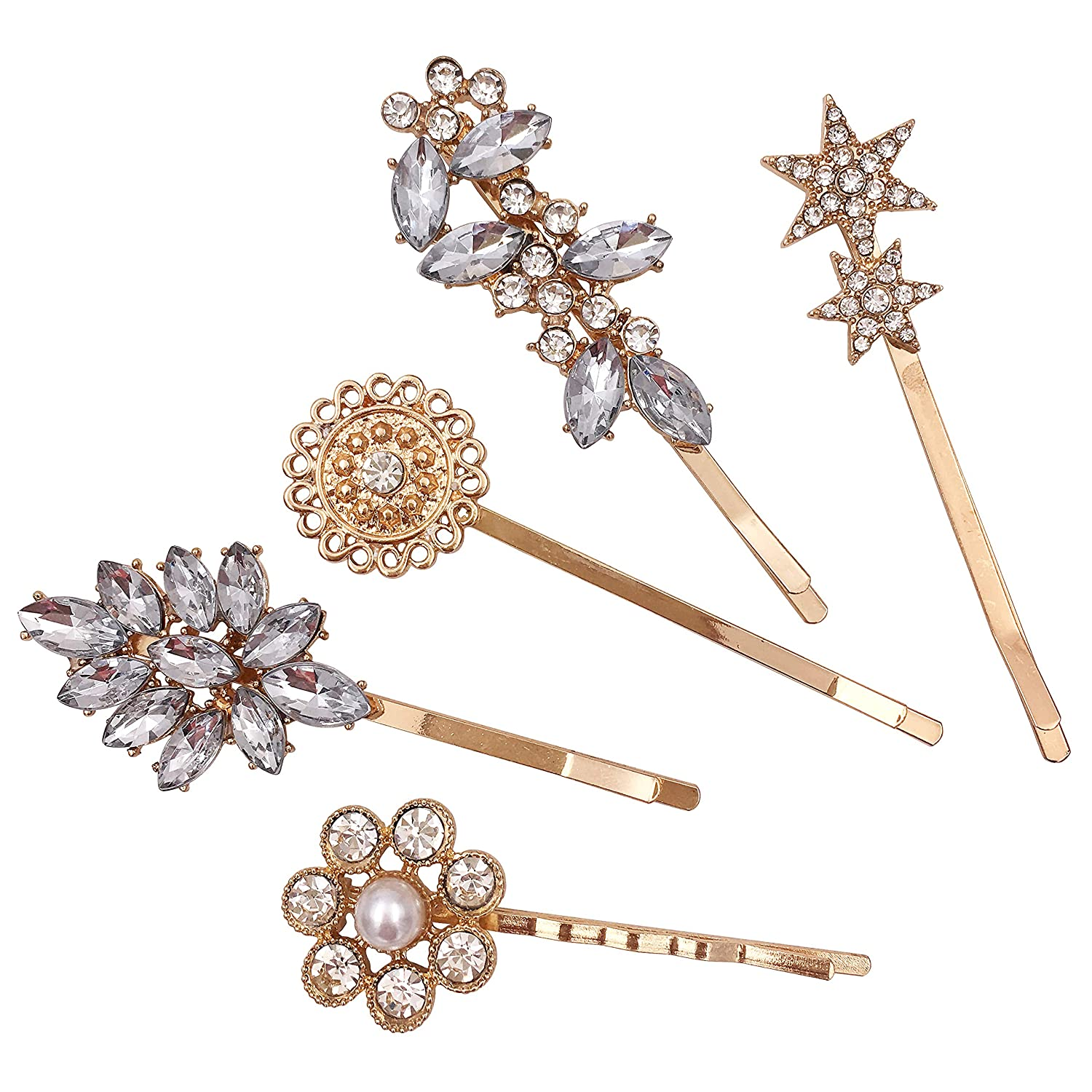 12-Pack Vintage Crystal Decorative Bobby Pins Hair Accessories Gold Tone  Women