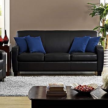 Amazon.com: Dorel Living Carver Faux Leather Sofa, Black ...