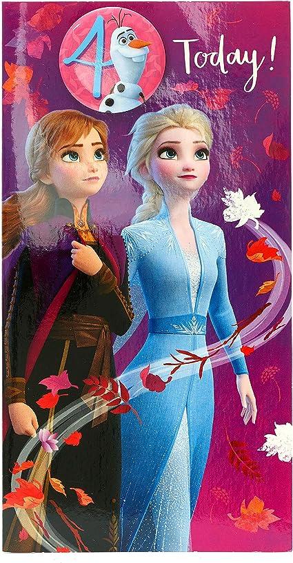 Carte D Anniversaire 4 Ans La Reine Des Neiges Carte D Anniversaire Pour Fille Avec Princesse Anna Princesse Elsa Et Olaf Amazon Fr Fournitures De Bureau