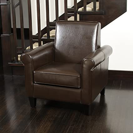 Amazon.com: Christopher Knight Home 218704 Freemont Leather Club Chair,  Chocolate Brown: Kitchen U0026 Dining