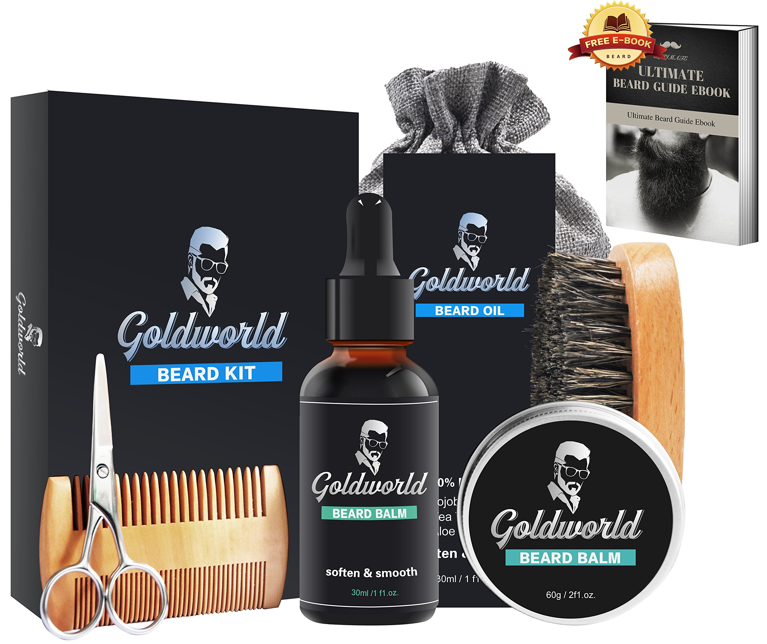 GoldWorld Beard Growth Kit for Dad/Men Gift Sets w/Unscented Beard Conditioner Oil+ Beard Balm Wax+Beard Comb+Beard Brush+Beard Scissors+Storage Bag for Grooming/Shaping (Beard Kit)