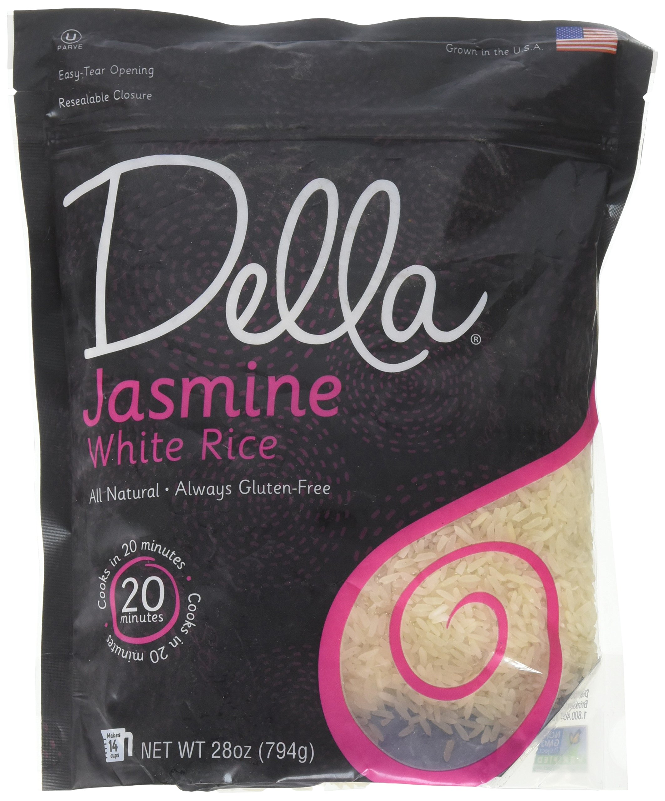 Della Gourmet Jasmine White Rice - All-Natural, Fat & GMO Free (28 oz) by DELLA