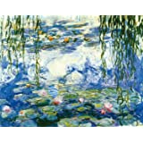 Wieco Art - Water Lilies by Claude Monet Oil Paintings Flowers Reproduction Giclee Canvas Prints Modern Landscape Artwork Picture Printed on Canvas Wall Art for Home Office Decorations