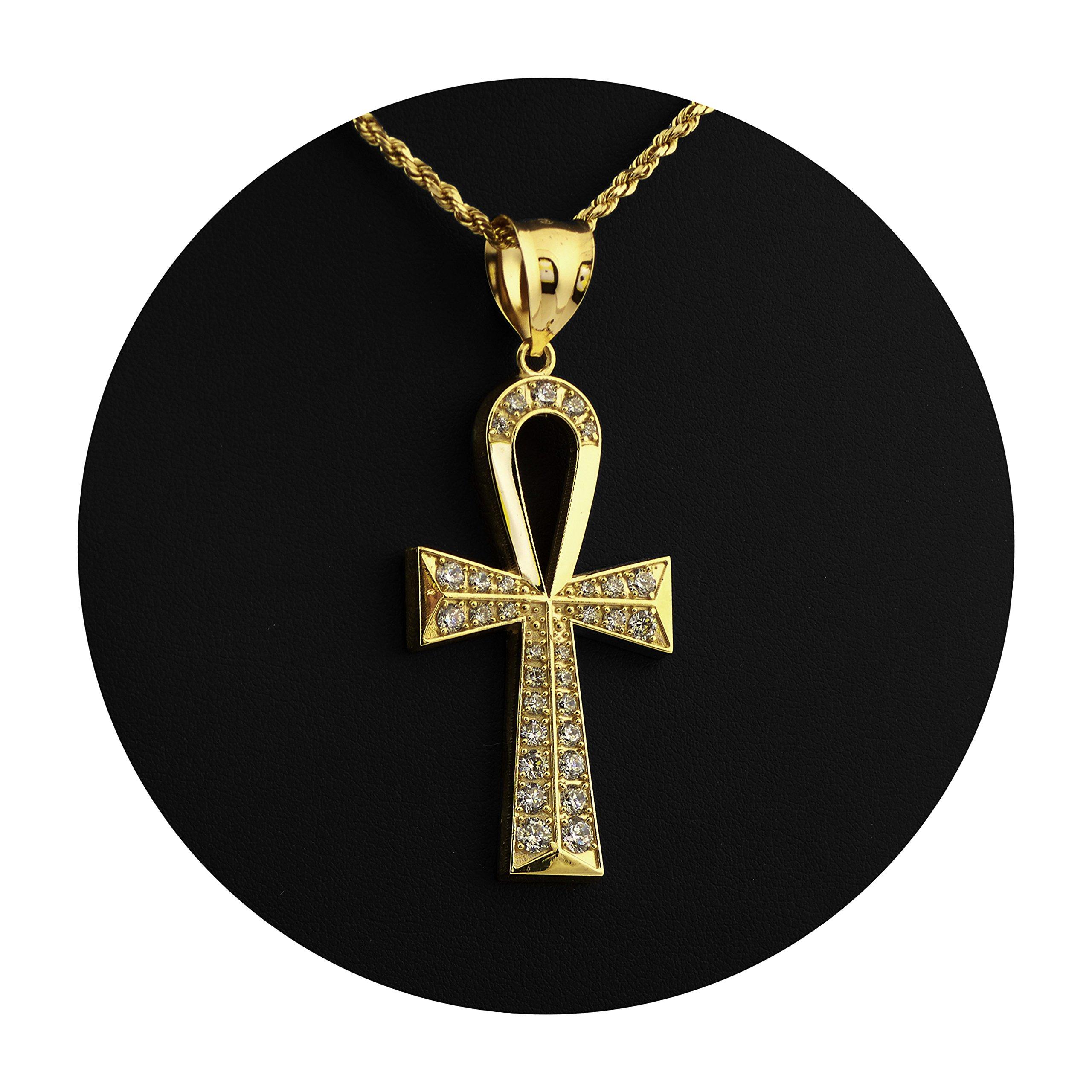 LoveBling 10K Yellow Gold Diamond Cut Ankh Cross Charm Necklace Pendant (2.5'' x 1.06'')