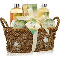Spa Gift Basket with Rejuvenating Tropical Coconut Fragrance in Cute Woven Basket, Includes Shower Gel, Bubble Bath and…
