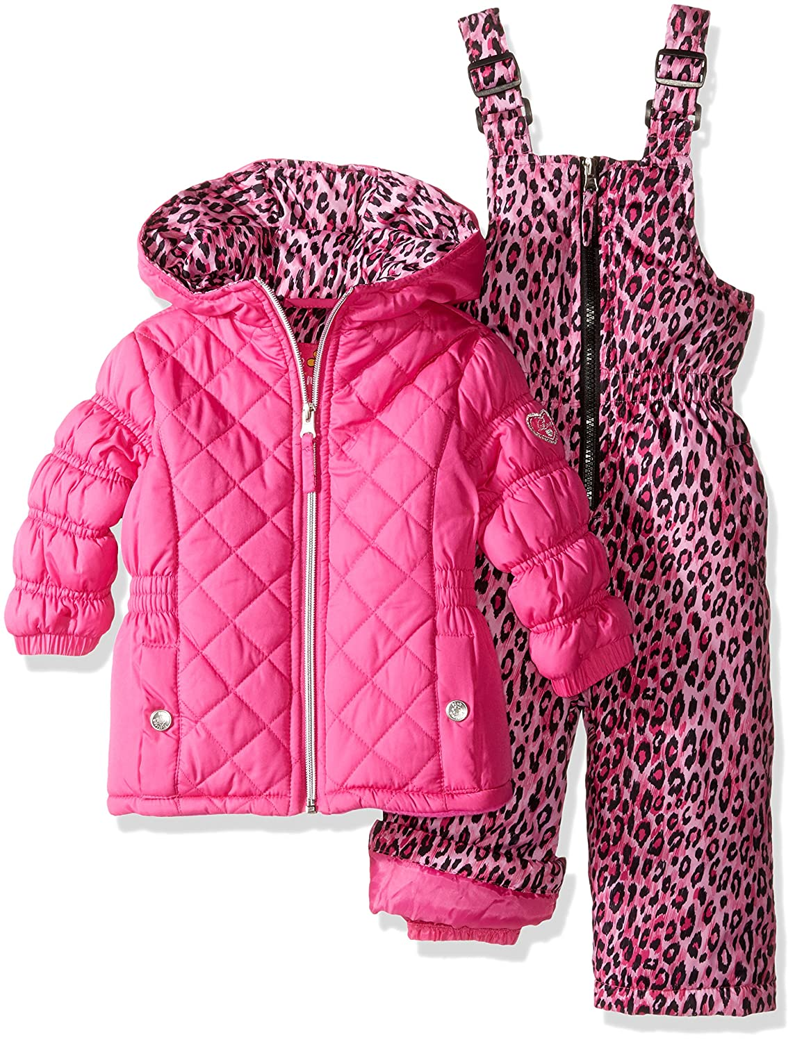 Pink Platinum Baby Girls' Infant Quilted Snowsuit with Cheetah Print