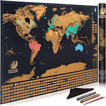 Amazon scratch off world map 24x32 interactive travel map scratch off world map 24x32quot interactive travel map tracks vacations sleek gumiabroncs Images