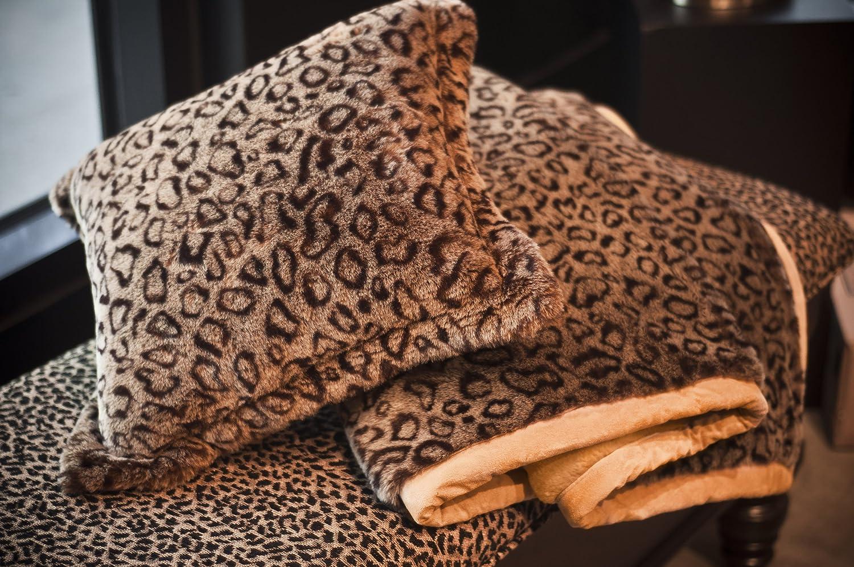 amazoncom leopard animal print faux fur pillow cushion cover home u0026 kitchen
