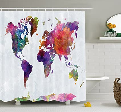 Ambesonne Watercolor Shower Curtain Multicolored Hand Drawn World Map Asia Europe Africa America Geography Print