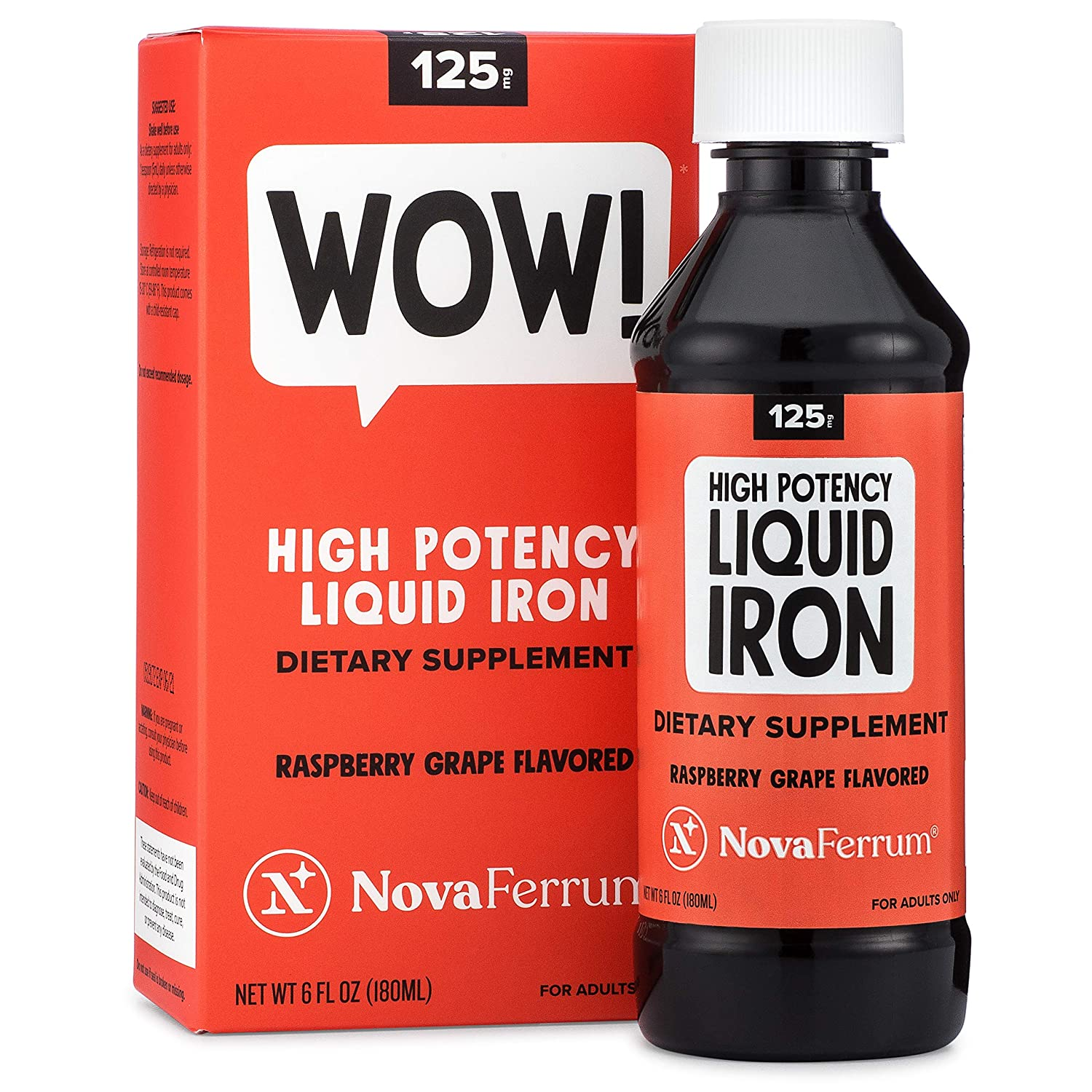 NovaFerrum 125 Liquid Iron Supplement Raspberry Grape Flavor 6 fl oz