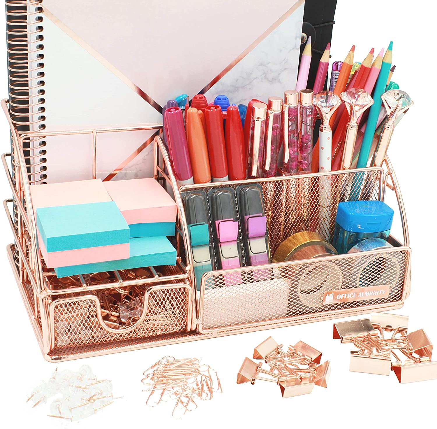 OFFICE ALMIGHTY Rose Gold Desk Organizer for Women: Exclusive Large 6 in 1 Mesh Metal Supplies Organizer with Pen Holders, Folder Holder & Accessories Drawer + BONUS 171 Clips Set w/ a Plastic Box